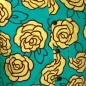 Preview: Chenaski Kurzarmhemd Outlined Roses Turquoise-Yellow