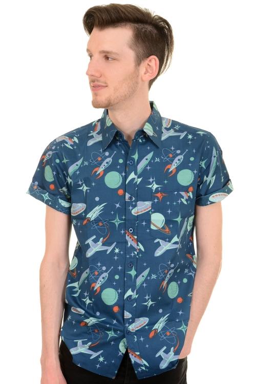 Run Fly Mens Beam Me Up Space Retro Rockets Short Sleeve Shirt