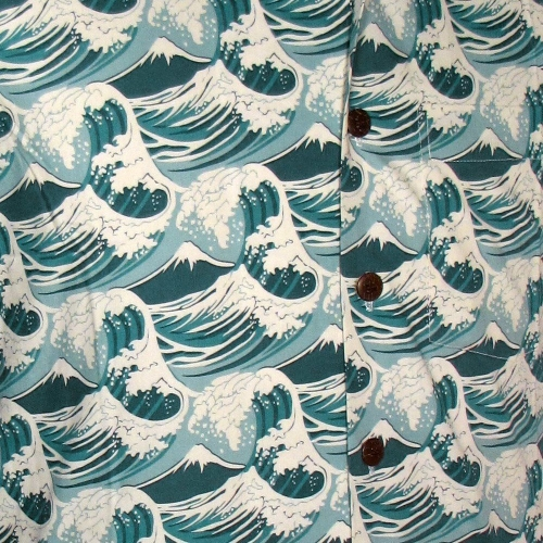Chenaski Kurzarmhemd Japanese Waves Mint