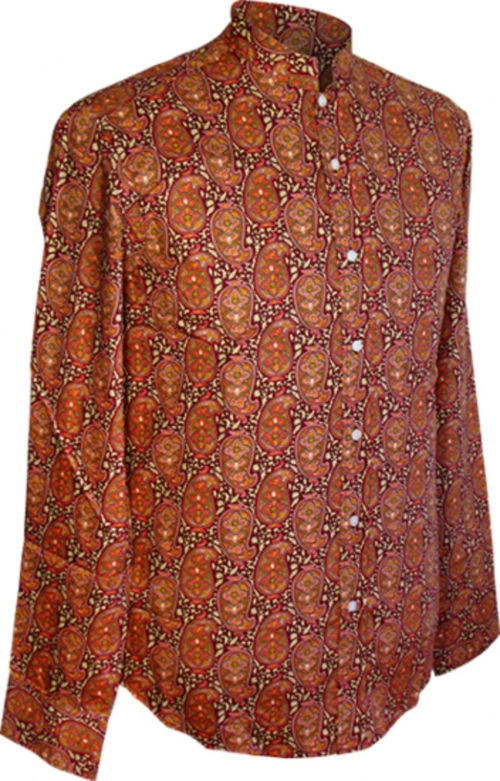 Chenaski Mao-Shirt Indian-Paisley bordeaux