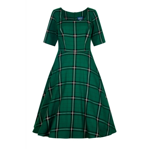 Amber Evergreen Check Swing Kleid