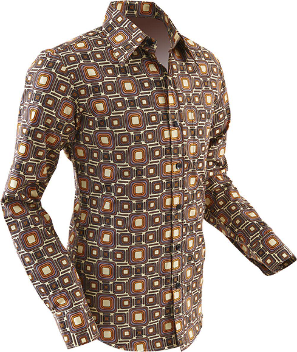 cos shop chenaski 70er jahre hemd tube creme retro 70er hemd in braun creme. Black Bedroom Furniture Sets. Home Design Ideas