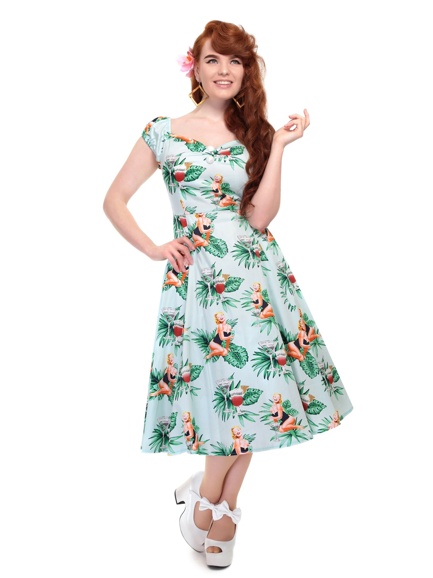 Dolores Tropical Pin-up Girl Doll Dress, Collectif Dress, 60er