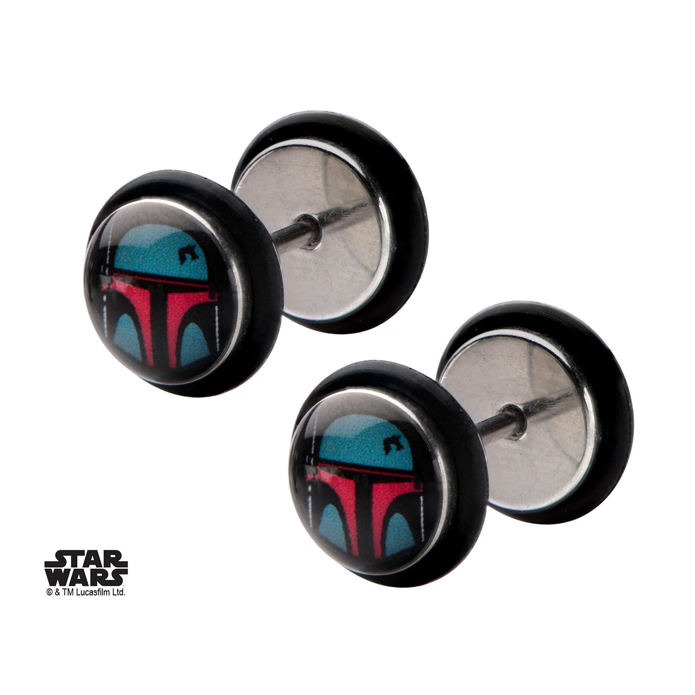 cos shop boba fett fake plugs earring stud star wars. Black Bedroom Furniture Sets. Home Design Ideas