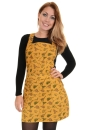 Run & Fly Winter Ladies Honey Gold Dinosaur Print Pinafore Kleid